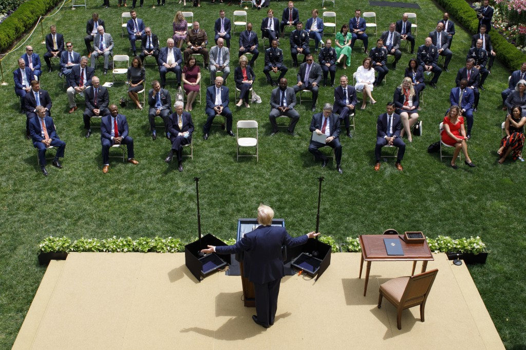 President Donald Trump speaks during an event on police reform, in the Rose Garden of the White House, Tuesday, June 16, 2020, in Washington. (AP Phot...