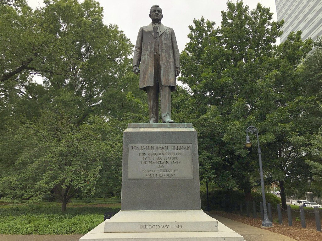 """A statue of """"Pitchfork"""" Ben Tillman is seen outside the South Carolina Statehouse on Tuesday, June 16, 2020, in Columbia, South Carolina. Tillman, who..."""