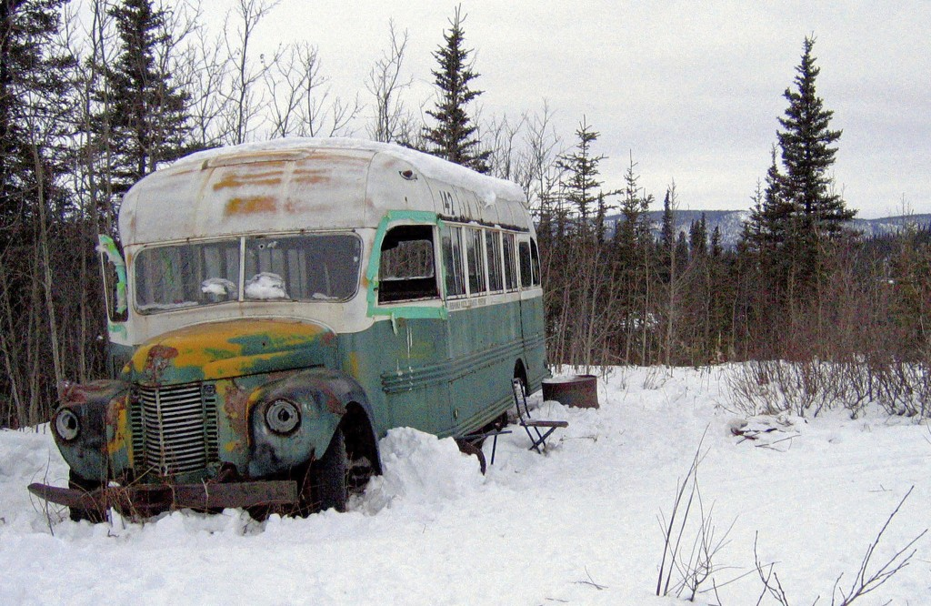 FILE - This March 21, 2006 file photo, shows the abandoned bus where Christopher McCandless starved to death in 1992 on Stampede Road near Healy, Alas...