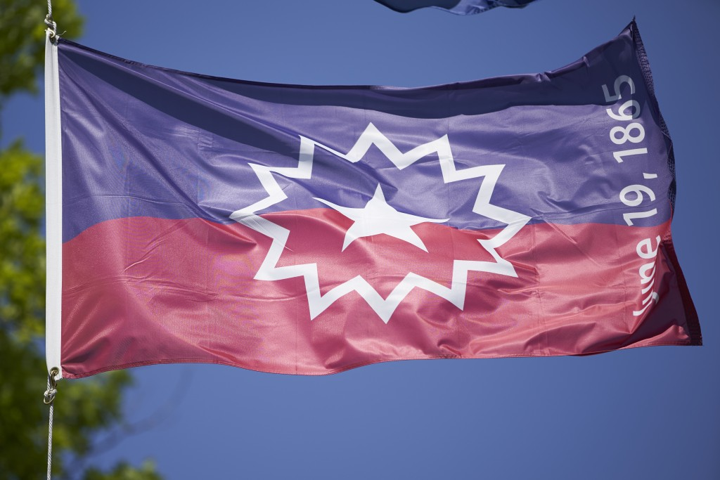 The Juneteenth flag flies in Omaha, Neb., Wednesday, June 17, 2020. The Juneteenth flag commemorating the day that slavery ended in the U.S. will fly ...