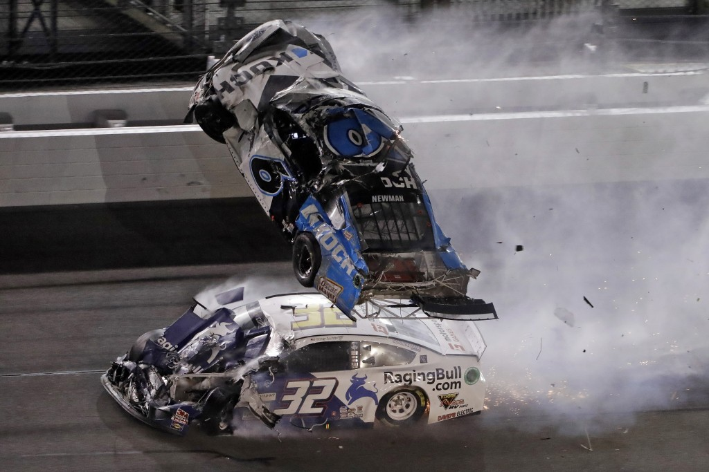 FILE - IN this Feb. 17, 2020 file photo, Ryan Newman (6) goes airborne after crashing with Corey LaJoie (32) during the NASCAR Daytona 500 auto race a...