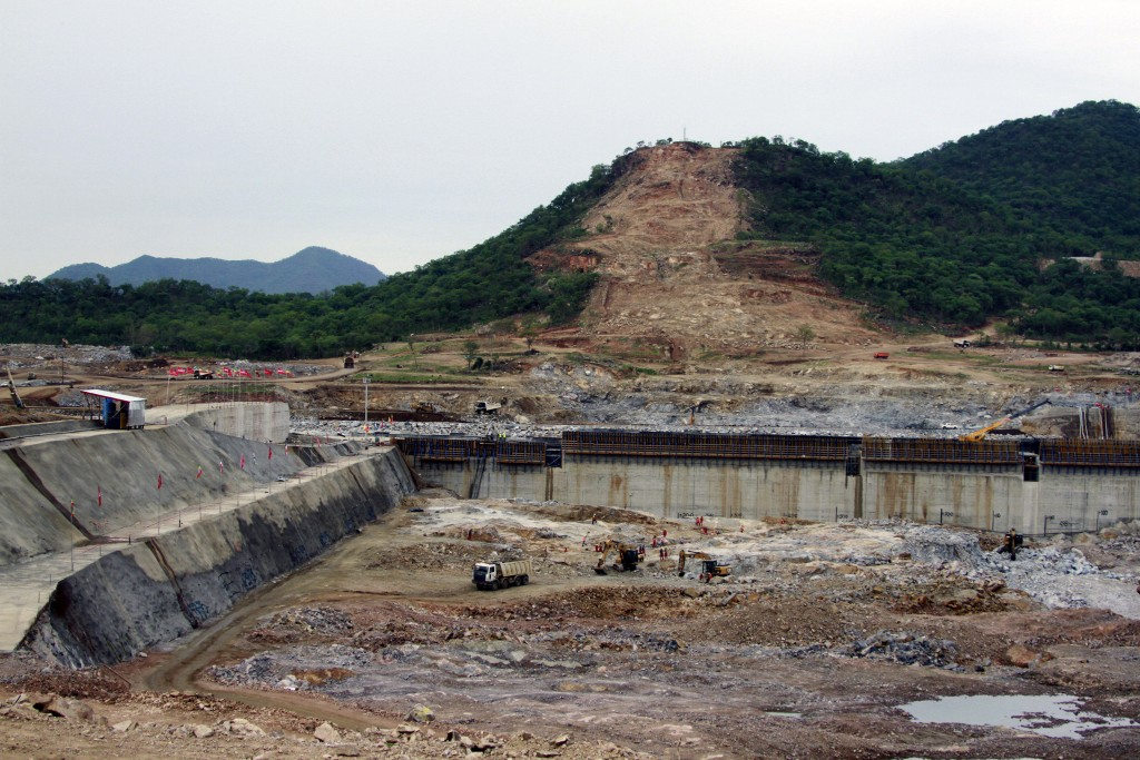 FILE - This June 28, 2013 file photo, shows construction work at the site of the planned Grand Ethiopian Renaissance Dam near Assosa in the Benishangu...