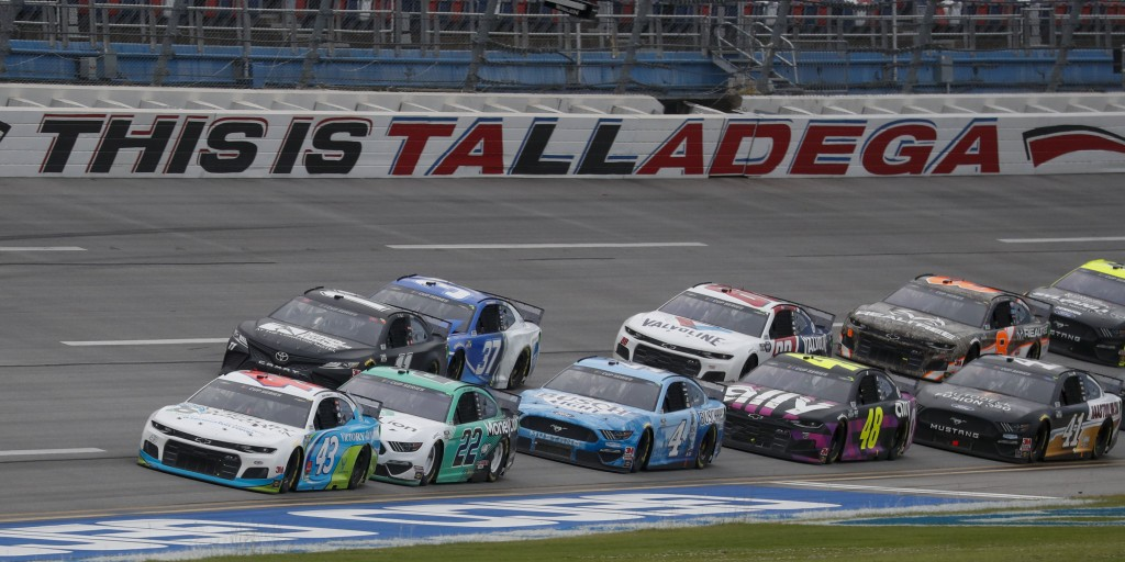 Monster Energy NASCAR Cup Series driver Bubba Wallace (43) leads the pack during a NASCAR Cup Series auto race at Talladega Superspeedway in Talladega...