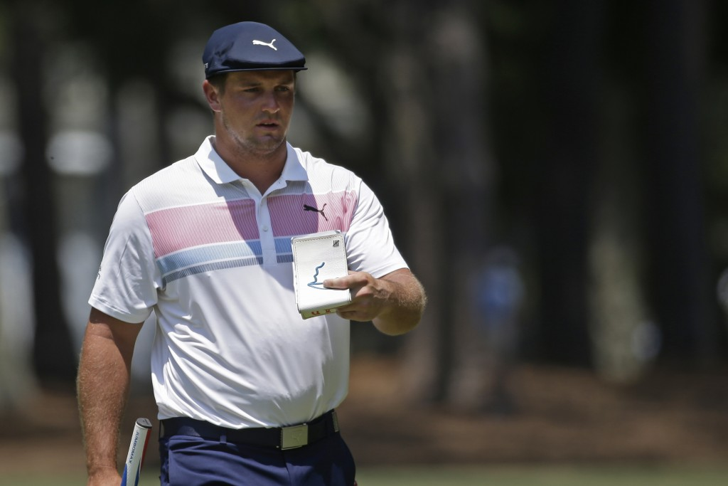 Bryson DeChambeau approaches the first green during the final round of the RBC Heritage golf tournament, Sunday, June 21, 2020, in Hilton Head Island,...