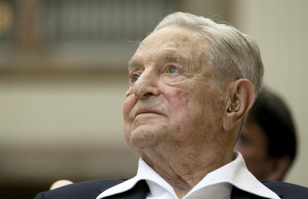FILE - In this June 21, 2019, file photo, George Soros, Founder and Chairman of the Open Society Foundations, looks before the Joseph A. Schumpeter aw...