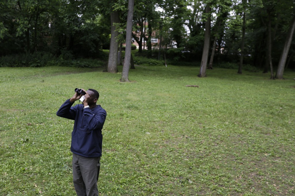 Keith Russell, program manager of urban conservation at Audubon Pennsylvania, looks through binoculars while conducting a breeding bird census, at Wis...