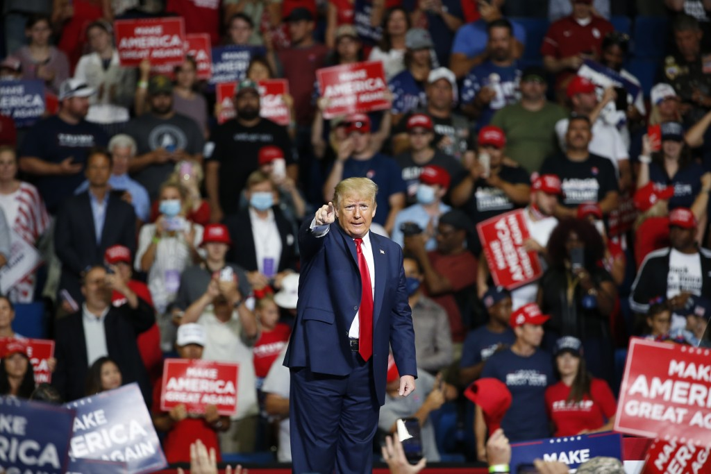President Donald Trump speaks during a campaign rally at the BOK Center, Saturday, June 20, 2020, in Tulsa, Okla. (AP Photo/Sue Ogrocki)