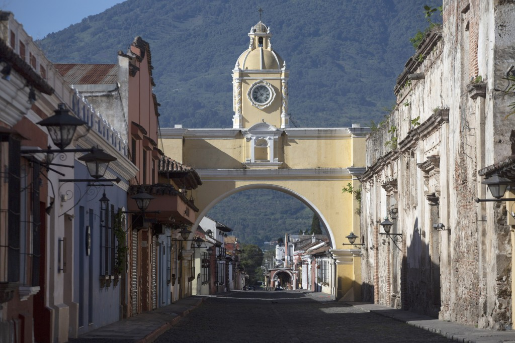 Santa Catalina's Arch is seen in Antigua, Guatemala, Sunday, June 21, 2020. President Alejandro Giammattei has been under growing pressure from the bu...