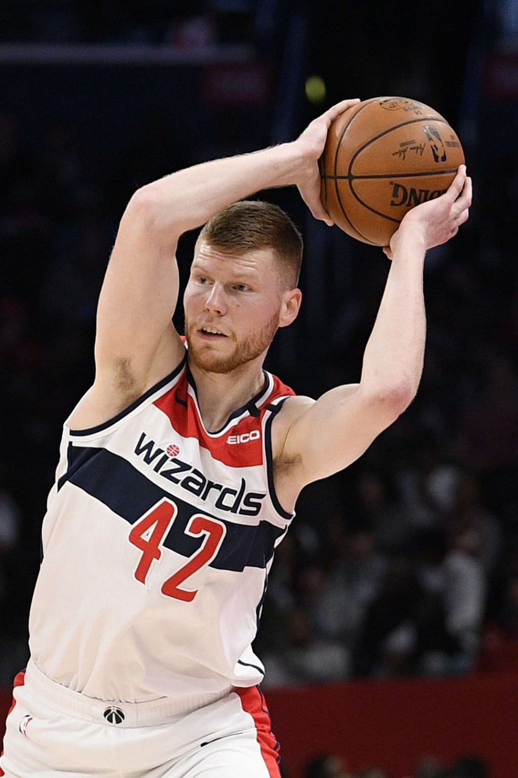 FILE - In this March 6, 2020, file photo, Washington Wizards forward Davis Bertans (42) looks to pass next against the Atlanta Hawks during the second...