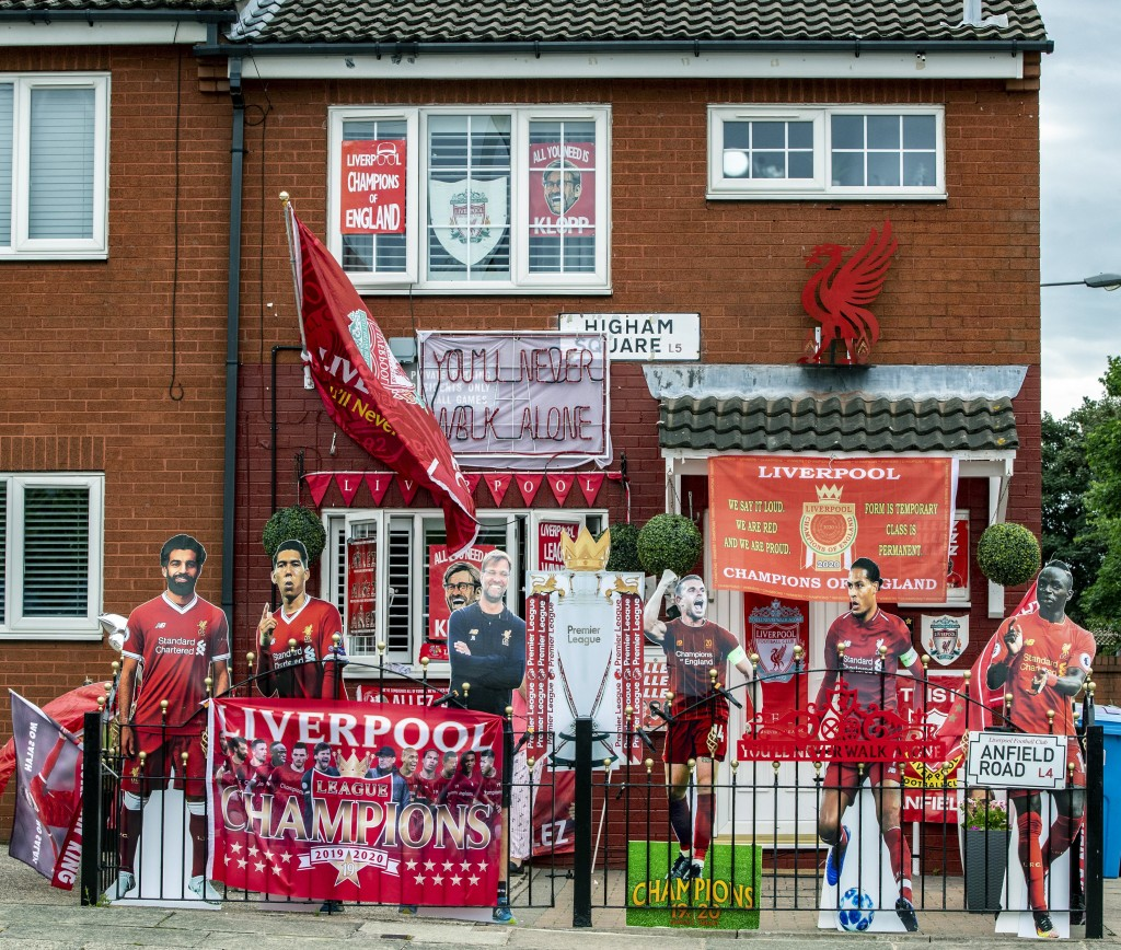 A view of a house in Merseyside decorated with Liverpool FC memorabilia, as Jurgen Klopp's team take a step closer to winning the Premier League title...