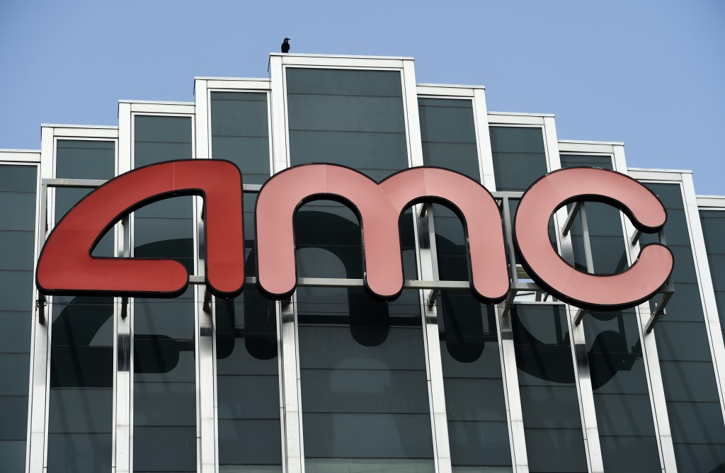 FILE - In this April 29, 2020 file photo, the AMC sign appears at AMC Burbank 16 movie theater complex in Burbank, Calif. AMC Theaters, the nation's l...