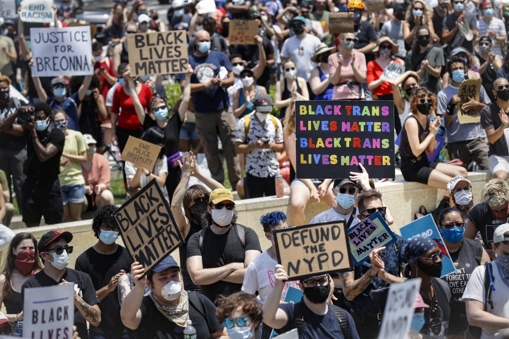 Protesters gather for a Juneteenth rally at the Brooklyn Museum, Friday, June 19, 2020, in the Brooklyn borough of New York. Juneteenth commemorates w...