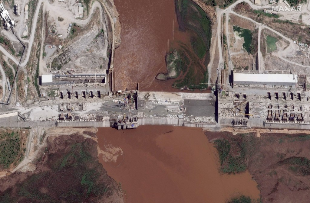 FILE - This satellite image taken Thursday, May 28, 2020, shows the Grand Ethiopian Renaissance Dam on the Blue Nile river in the Benishangul-Gumuz re...
