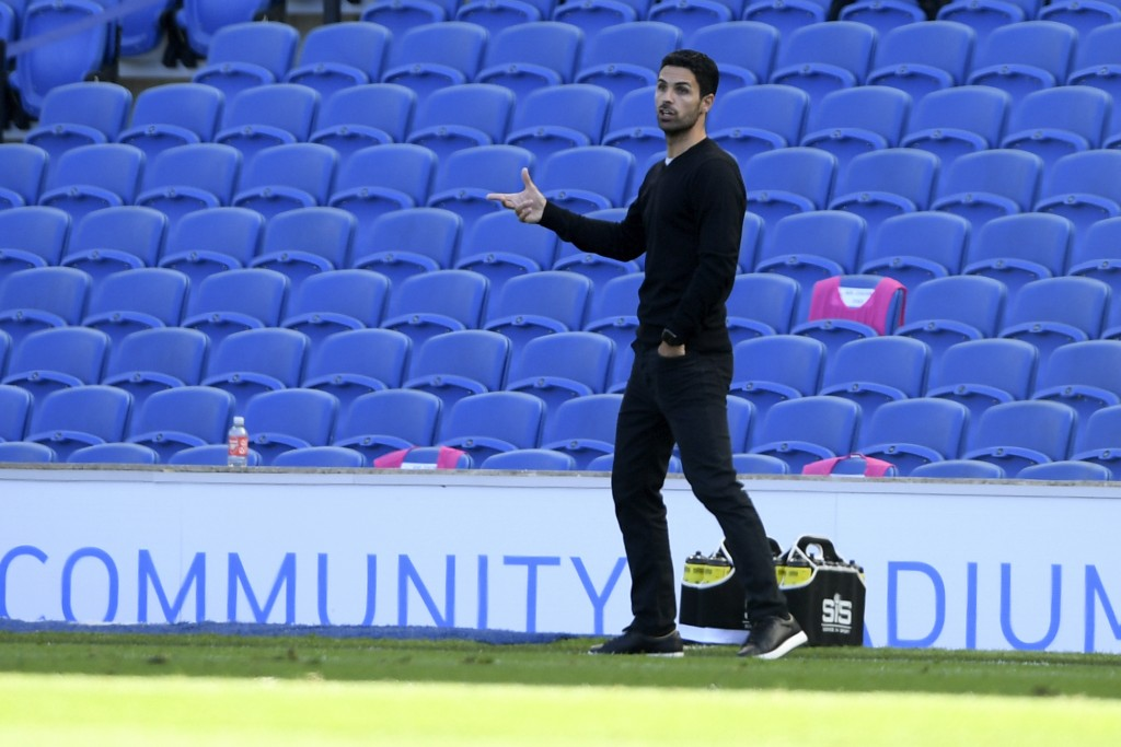 Arsenal's head coach Mikel Arteta gestures during the English Premier League soccer match between Brighton & Hove Albion and Arsenal at the AMEX Stadi...