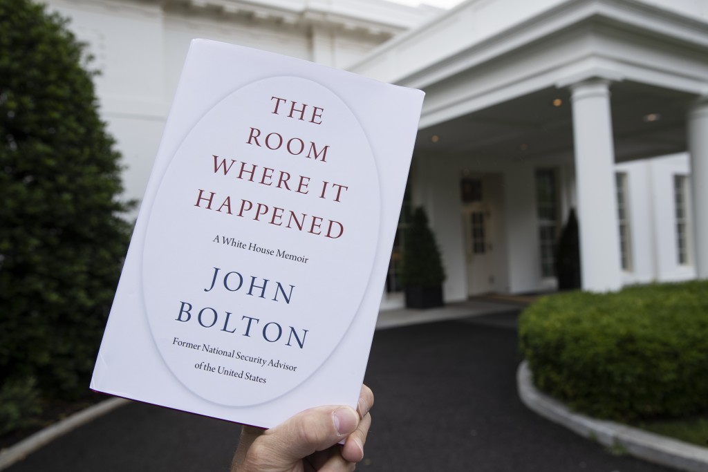"""A copy of """"The Room Where It Happened,"""" by former national security adviser John Bolton, is photographed at the White House, Thursday, June 18, 2020, ..."""