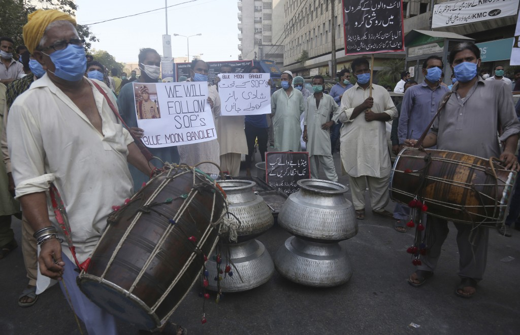 Owners of marriage and banquet halls protest against the government demanding the opening of their halls which were closed by authorities to help to c...