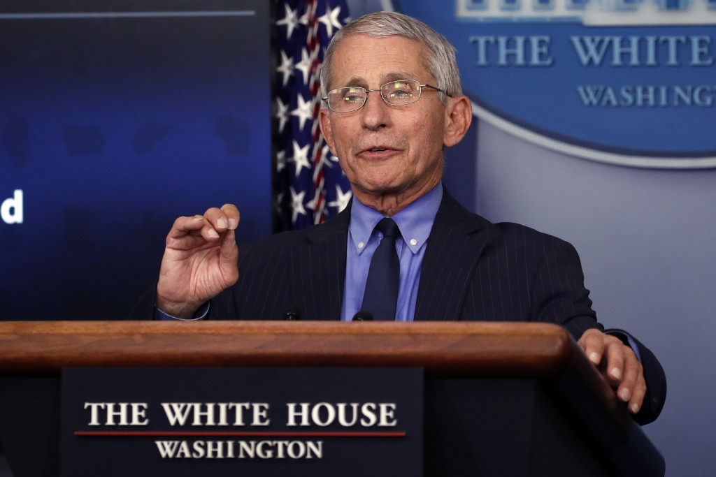 FILE - In this April 17, 2020, file photo, Dr. Anthony Fauci, director of the National Institute of Allergy and Infectious Diseases, speaks about the ...