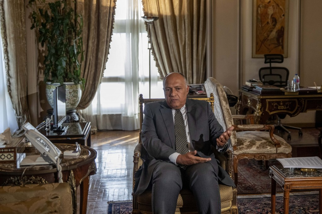 Egyptian Foreign Minister Sameh Shukry speaks during an interview with The Associated Press at his office, in Cairo, Egypt, Sunday, June 21, 2020. Egy...