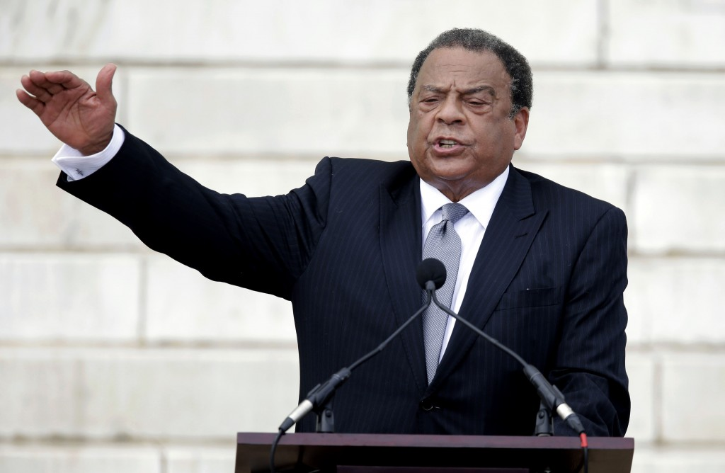 FILE - In this Aug. 28, 2013 file photo, former United Nations Ambassador Andrew Young speaks at the Let Freedom Ring ceremony at the Lincoln Memorial...