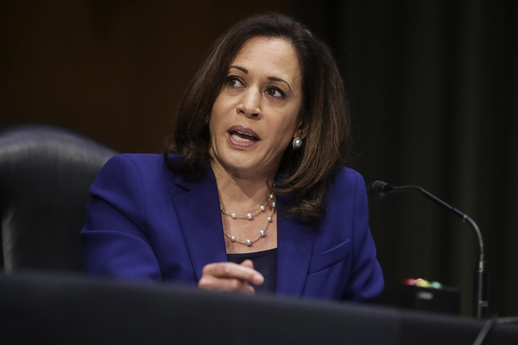 Sen. Kamala Harris, D-Calif., speaks during a Senate Judiciary Committee hearing on police use of force and community relations on on Capitol Hill, Tu...