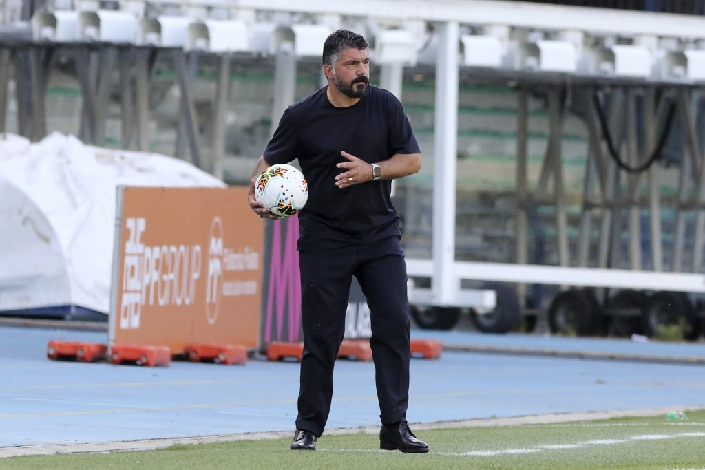 Napoli coach Gennaro Gattuso holds the ball during the Serie A soccer match between Hellas Verona and Napoli at the Marcantonio Bentegodi Stadium in V...