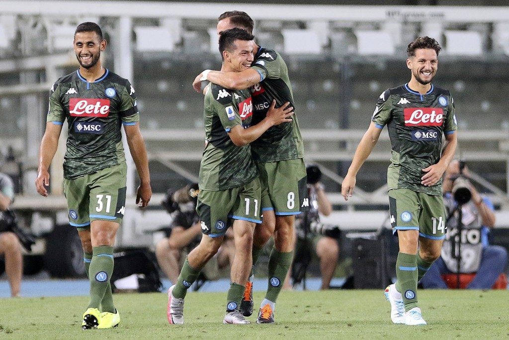 Napoli's Hirving Lozano, center, celebrates with teammates, from left, Faouzi Ghoulam, Fabian Ruiz and Dries Mertens after scoring his side's 2nd goal...