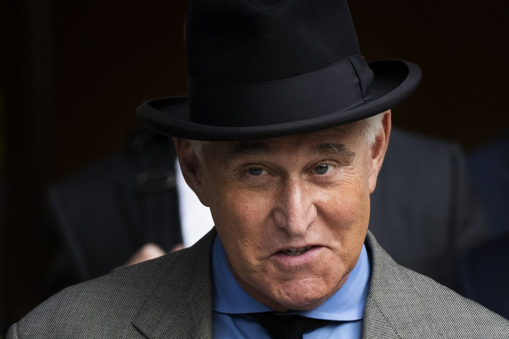FILE - In this Nov. 12, 2019, file photo Roger Stone leaves federal court in Washington. A federal judge is giving Stone, a longtime ally and confidan...
