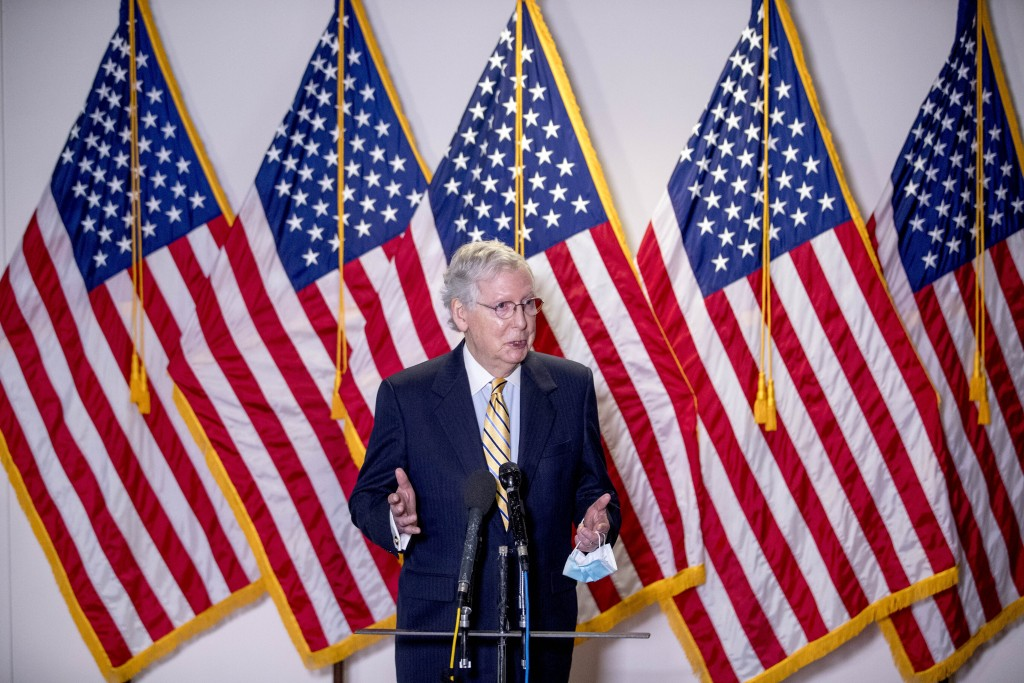Senate Majority Leader Mitch McConnell, R-Ky., speaks to reporters during a news conference following a Senate policy luncheon on Capitol Hill, Tuesda...