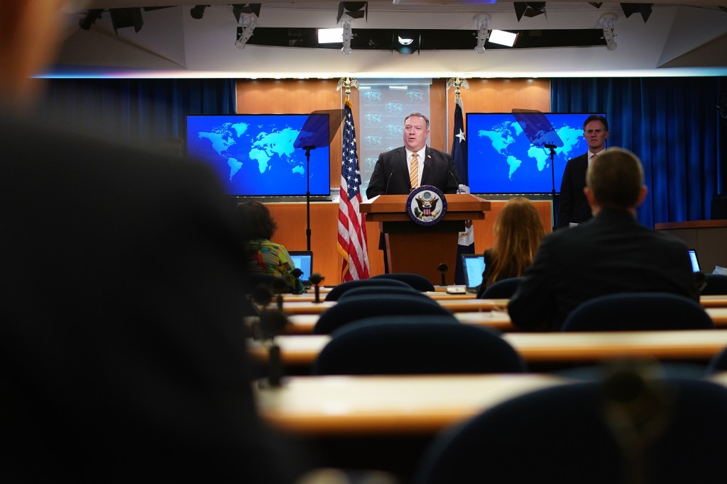 Secretary of State Mike Pompeo speaks during a press conference at the State Department, Wednesday, June 24, 2020 in Washington, as State Department C...