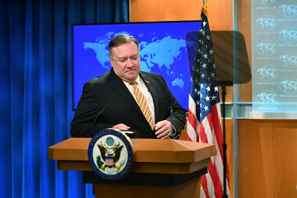 Secretary of State Mike Pompeo arrives for a press conference at the State Department, Wednesday, June 24, 2020 in Washington. (Mandel Ngan/Pool via A...