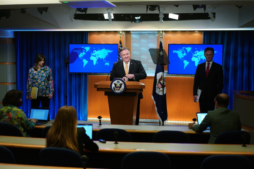 Secretary of State Mike Pompeo speaks during a press conference at the State Department, Wednesday, June 24, 2020 in Washington, as State Department s...