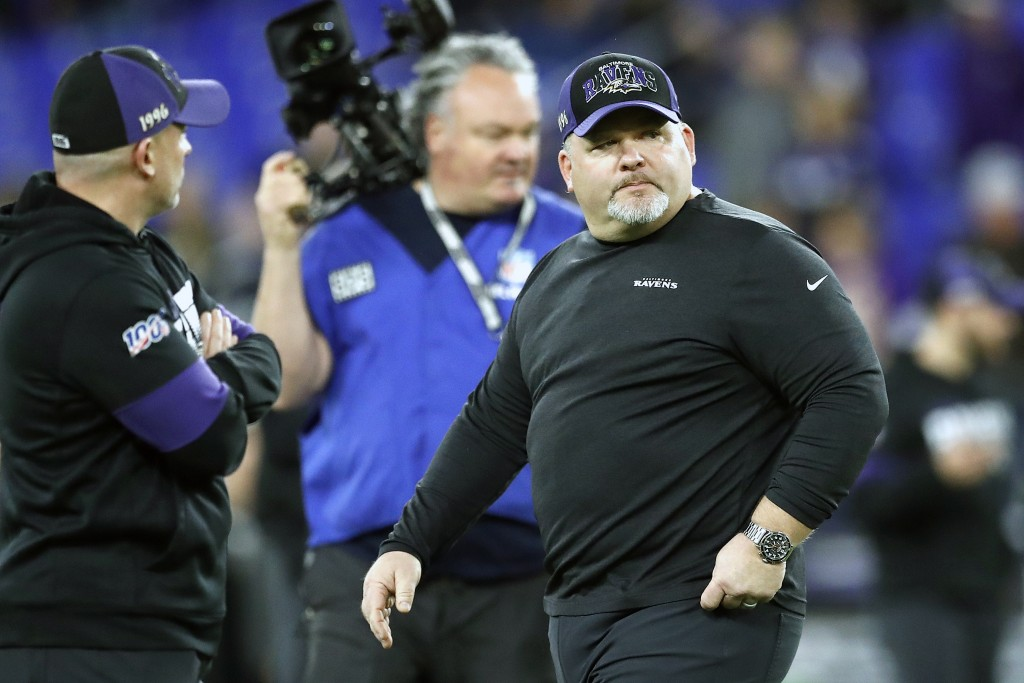 FILE - In this Jan. 11, 2020, file photo, Baltimore Ravens offensive coordinator Greg Roman looks on prior to an NFL divisional playoff football game ...