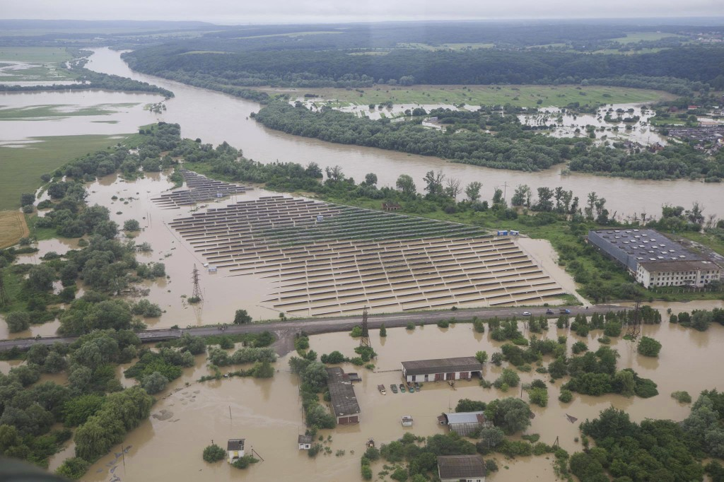 An aerial view on the flooded villages in the Ivano-Frankivsk region, western Ukraine, Wednesday, June 24, 2020. Some 200 villages in the Carpathian m...