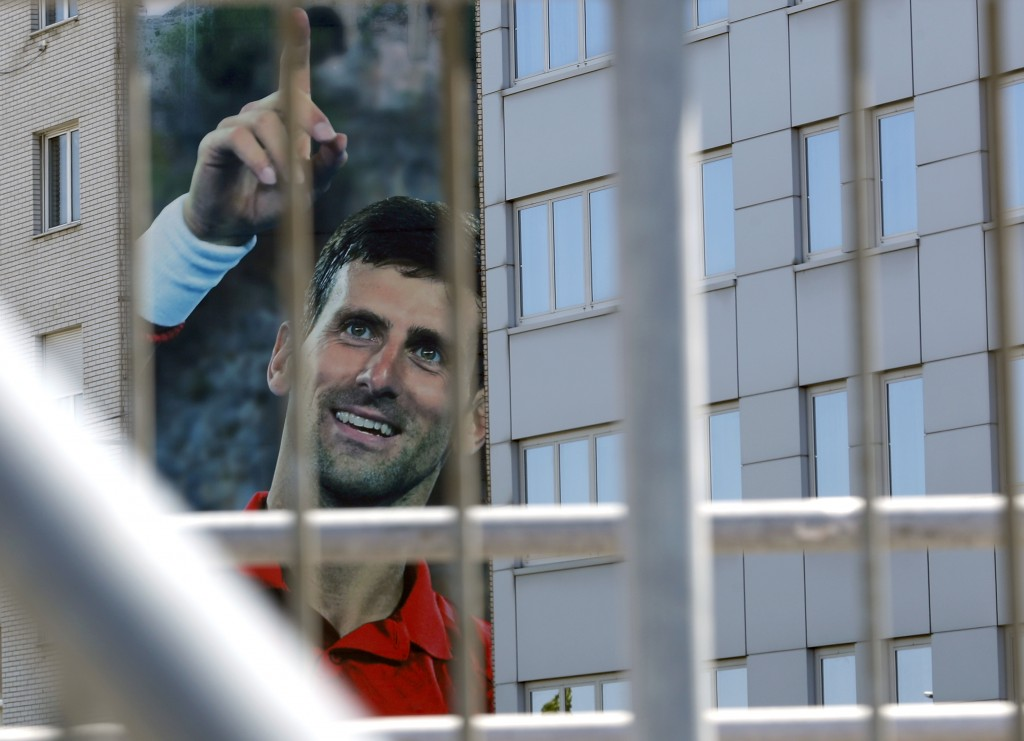 A billboard depicting Serbian tennis player Novak Djokovic is seen on a building in Belgrade, Serbia, Wednesday, June 24, 2020. Djokovic has tested po...