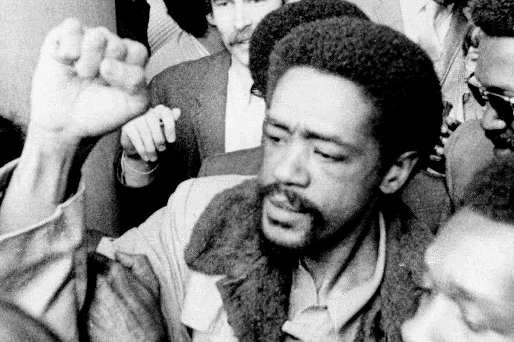 FILE - In this May 28, 1971 file photo, Bobby Seale, co-founder of the Black Panther Party, gestures after being freed after serving 21 months in pris...