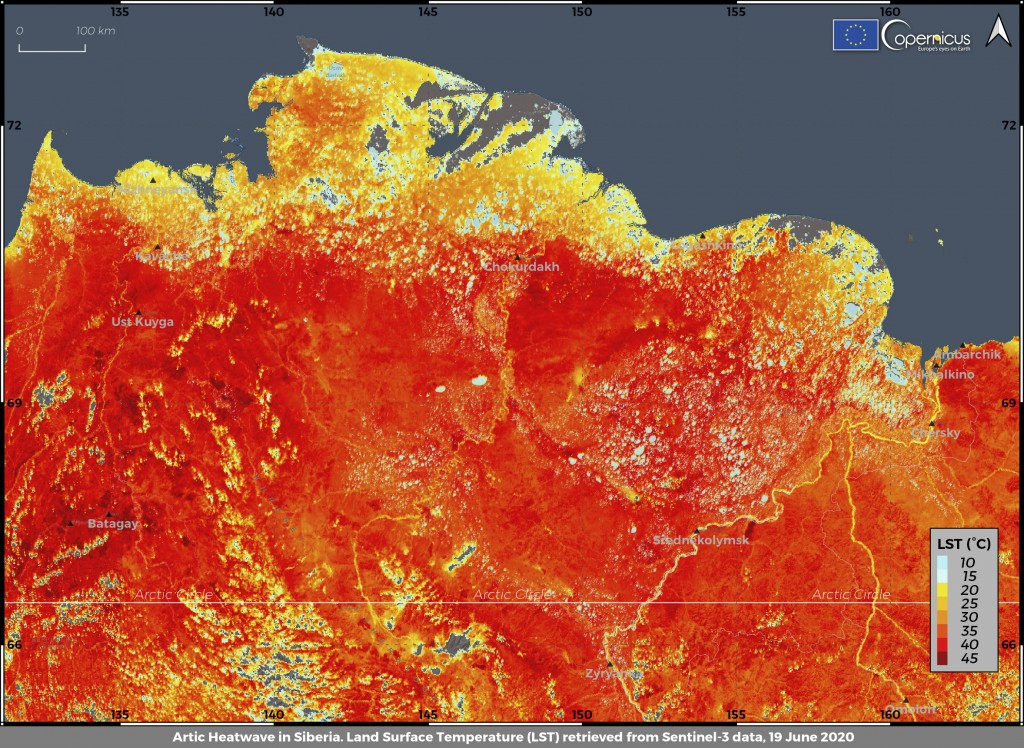 This photo taken on Friday, June 19, 2020 and provided by ECMWF Copernicus Climate Change Service shows the land surface temperature in the Siberia re...