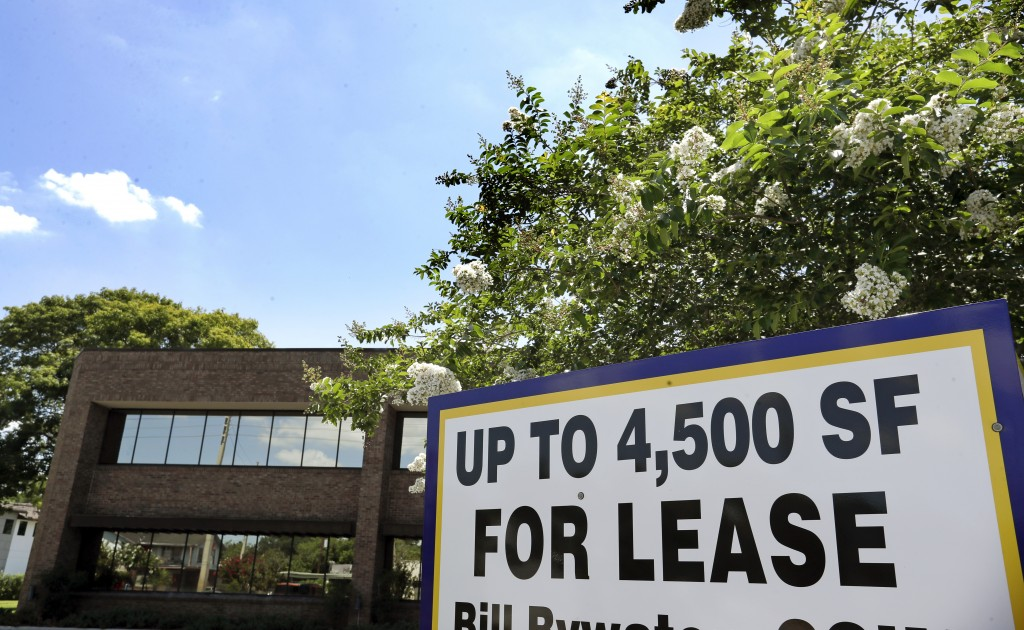 This Monday, June 22, 2020 photo shows a commercial real estate property for lease, in Orlando, Fla.  Many businesses devastated by the coronavirus pa...
