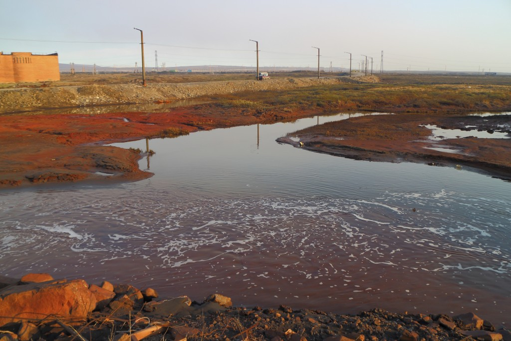 This handout photo provided by Vasiliy Ryabinin shows oil spill outside Norilsk, 2,900 kilometers (1,800 miles) northeast of Moscow, Russia, Friday, M...