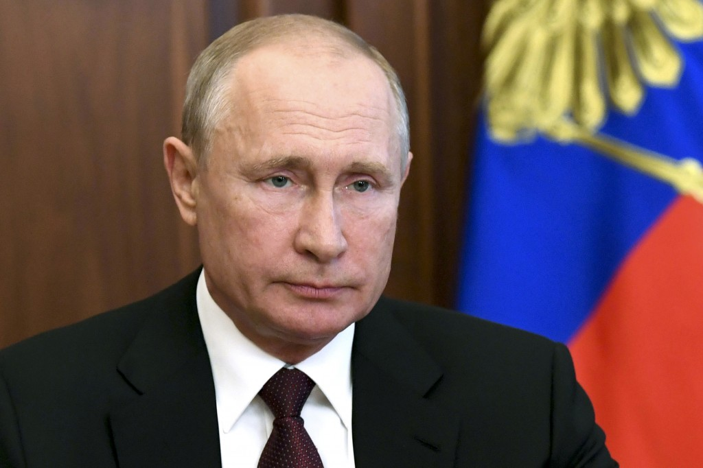 Russian President Vladimir Putin Putin addresses the nation in Moscow, Russia, Tuesday, June 23, 2020. Putin offered new social support measures and i...