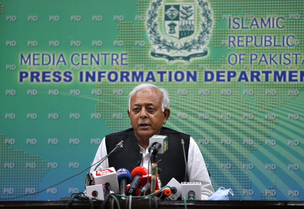 """Pakistan's aviation minister Ghulam Sarwar Khan speaks during a press conference in Islamabad, Pakistan, Wednesday, June 24, 2020.  Khan said that """"hu..."""