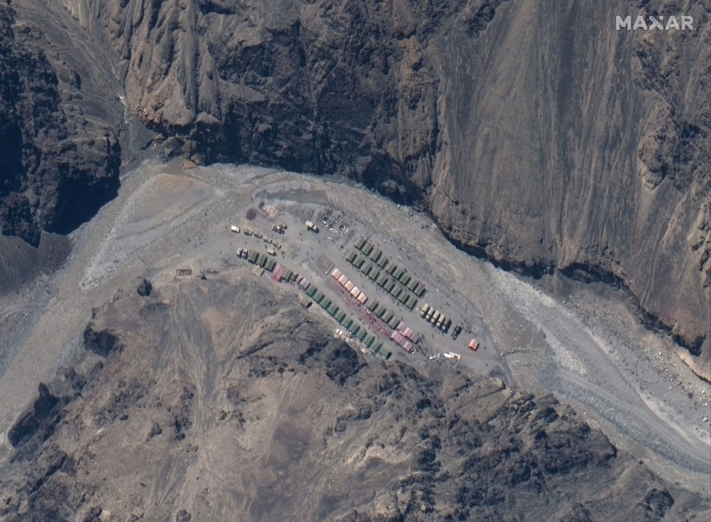 This May 22, 2020, satellite image provided by Maxar Technologies shows China's People's Liberation Army (PLA) base in the Galwan Valley in Line of Ac...