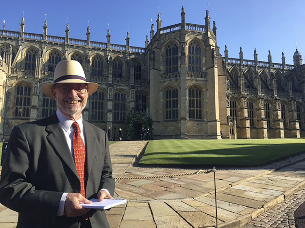 In this May 19, 2018 photo, Gregory Katz, acting London bureau chief for The Associated Press, stands in front of St. George's Chapel in Windsor near ...