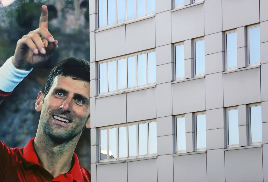 A huge billboard depicting Serbian tennis player Novak Djokovic on a building in Belgrade, Serbia, Wednesday, June 24, 2020. Djokovic has tested posit...