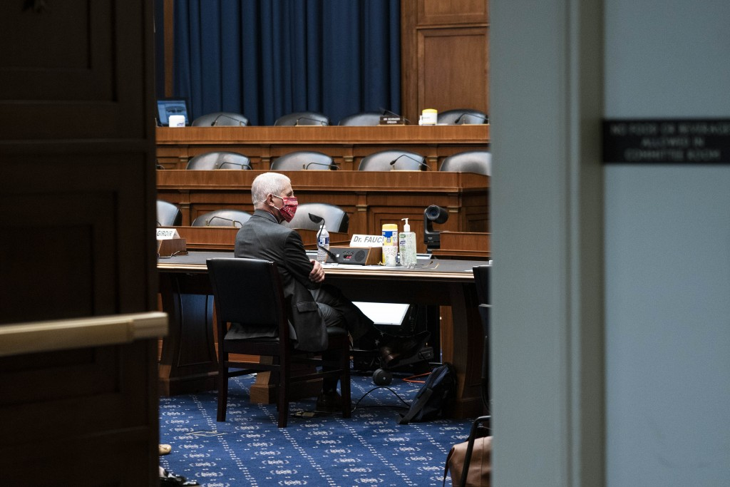 Director of the National Institute of Allergy and Infectious Diseases Dr. Anthony Fauci listens during  a House Committee on Energy and Commerce on th...