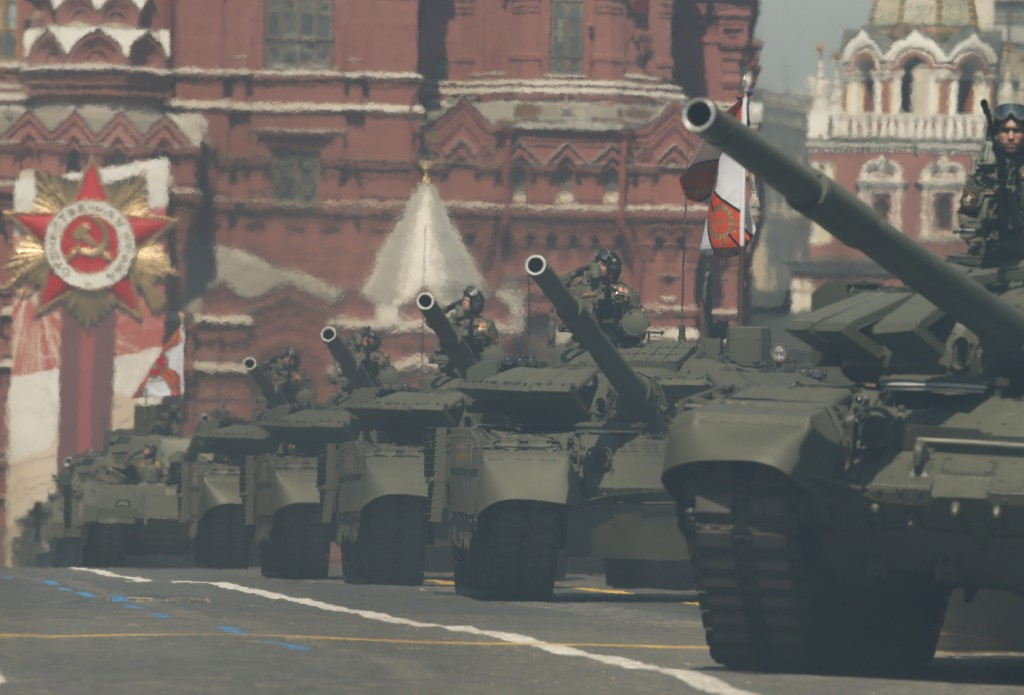 Russian army tanks roll toward Red Square during the Victory Day military parade marking the 75th anniversary of the Nazi defeat in Moscow, Russia, We...