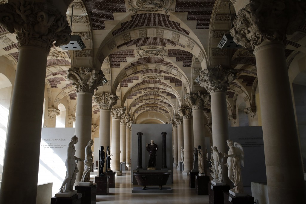 The Michelangelo gallery is pictured during a visit of the Louvre museum ahead of its reopening next July 6, in Paris, Tuesday, June 23, 2020. After f...