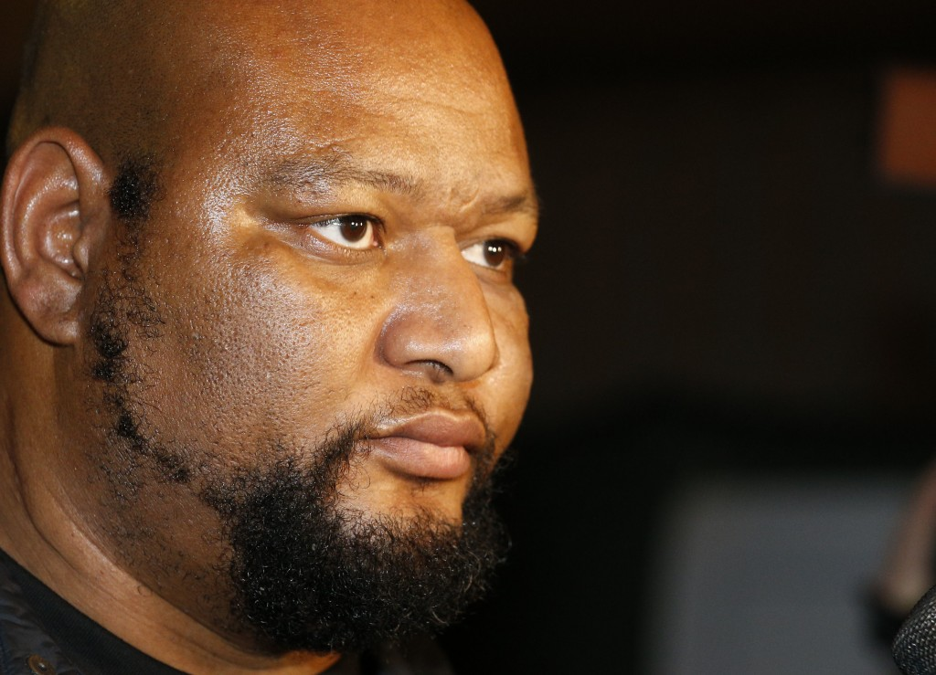 FILE - In this Dec. 11, 2016, file photo, former New Orleans Saints and University of Mississippi running back Deuce McAllister leaves Orleans Parish ...