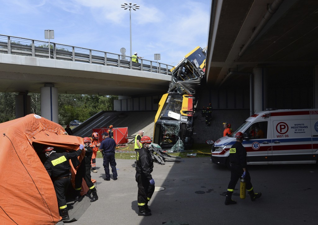 The wreckage of a Warsaw city bus is shown after the articulated bus crashed off an overpass, killing one person and injuring about 20 people, in Wars...