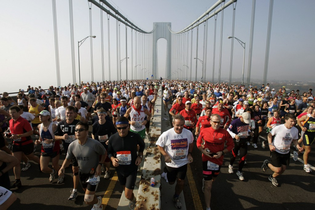 FILE - This is a Nov. 6, 2005, file photo showing runners on the upper level of the Verrazano Bridge at the start of the 36th New York City Marathon. ...