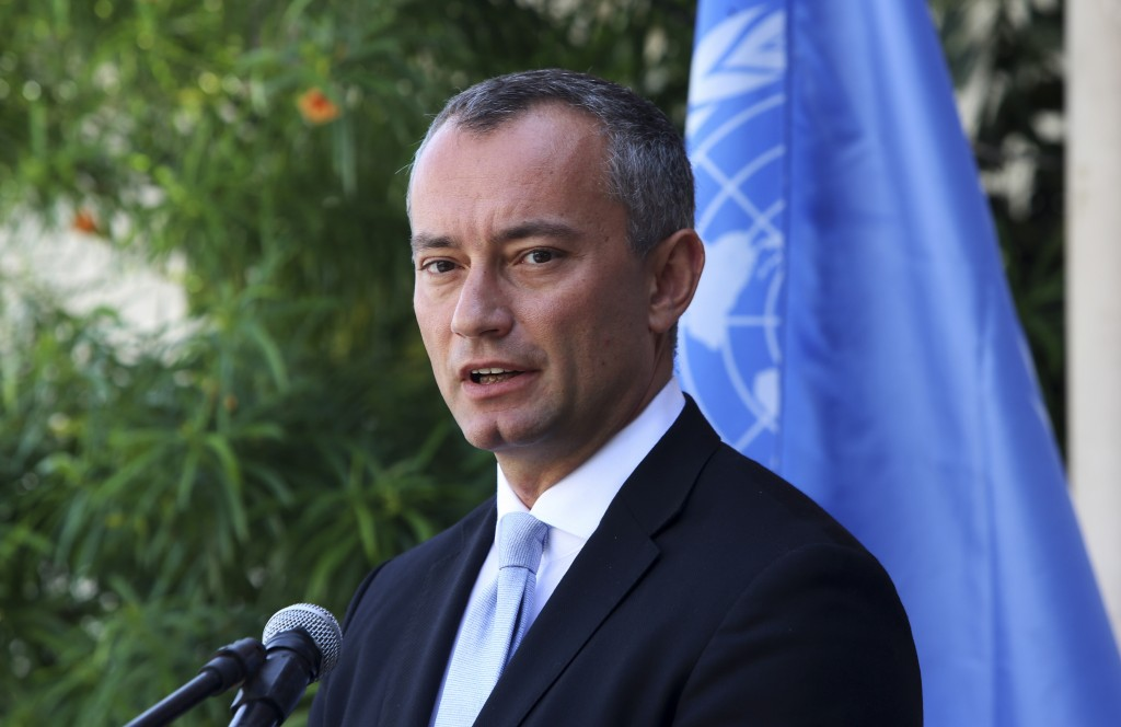 FILE - In this Sept. 25, 2017 file photo, United Nations Special Coordinator for the Middle East Peace Process Nickolay Mladenov, attends a press conf...